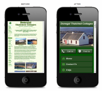 self catering mobile websites
